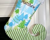 Personalized Christmas tree stocking with green stripe and name added for free