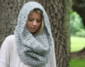 Ready to ship in Silver Chunky Cowl Scarf Crochet Snood Winter Scarf THE ROCHDALE Silver
