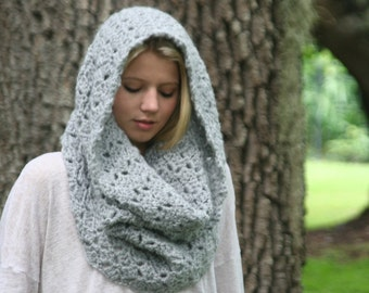 Chunky Cowl Scarf Crochet Snood Winter Scarf THE ROCHDALE Silver