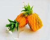 Miniature Pineapple Earrings, Fimo, Polymer Clay