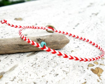 Summer bracelet friendship bracelet marine - Natural and red with turquoise bead