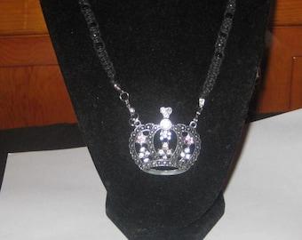 Crown Pendant Made on a Black Hemp Necklace