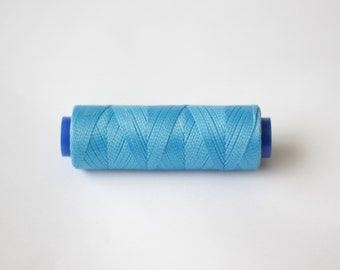 11 yards blue, waxed cord, Waxed polyester cord, waxed thread, knotting cord, Macrame string, polyester thread, blue beading cord