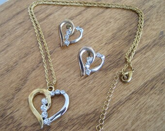 Vintage heart necklace and earrings.  Set.  Costume jewelry.