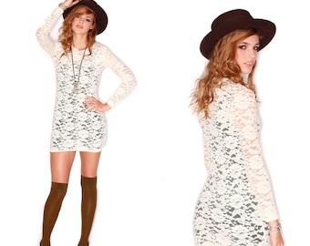 Cream Burnout Body Con Mini Dress// Long Sleeve//S-M-L