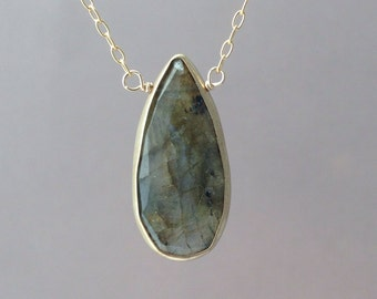 Labradorite Stone Bezel Set Gold Necklace