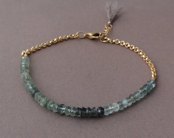 Gray Green Ombre MOSS Aquamarine Gemstone Beaded Gold Bracelet also available in Silver
