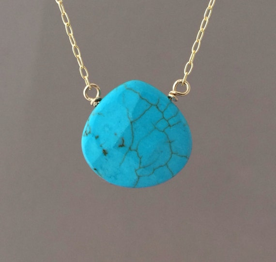 Medium Turquoise Stone Necklace in Gold, Rose Gold, or Silver