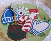 Christmas Shaped Gift Decorations/Tags - Set of Five Tags
