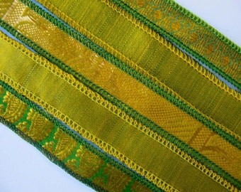 Green Gold Sari Silk Bracelet Ribbon, W269