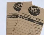 Printable Beer Tasting Score Cards- Instant Download