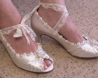 Ivory Wedding Shoes Peep Toes Medium Heel