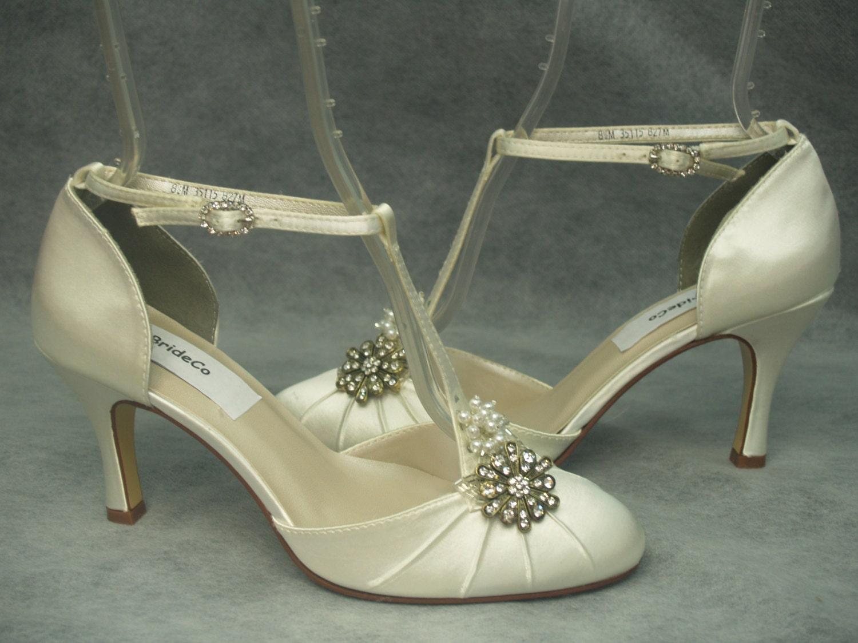 Wedding High Heels Ivory: IVORY Wedding Shoes Mid Heels Vintage Style Round Toeankle