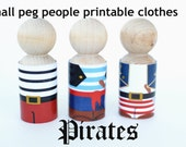 PDF Printable SMALL Peg People Pirate Clothes for small peg dolls