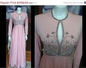 20% OFF ENTIRE STORE Vintage 1950s Victoria Royal Ltd Long Pink Dress Silver Bead Great Condition Metal Zipper Cocktail Gown