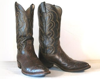 Vintage Cowboy Boots, 70's HYER Brown Antelope Leather with Nitrene Soles, Men's sizing 9 D / women 10.5