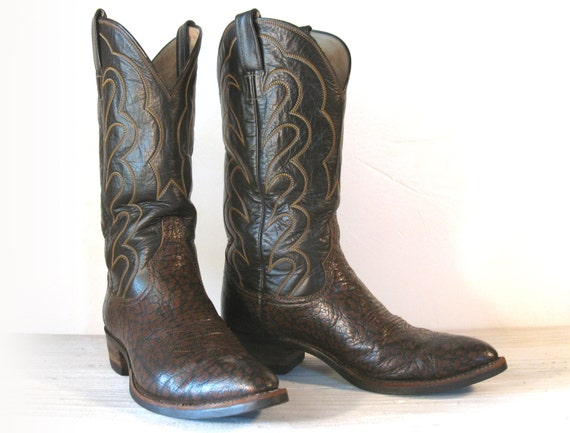 vintage cowboy boots 70 s hyer brown antelope leather