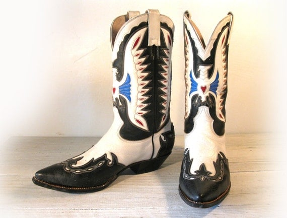 Vintage Cowboy Boots Don Quijote Fancy Handmade Black & White