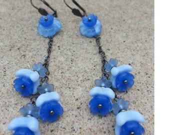 Blue Trailing Glass Flower Long Chain Earring