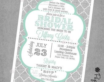 Bridal Shower Invitations - Moroccan Scallop - Bridal Shower or Baby Shower Invitations - 5x7 Printed Invitations - Teal Grey