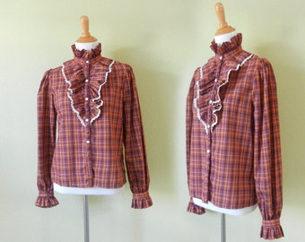 1970's Vintage Ruffled Blouse  |  Plaid Button Down Shirt