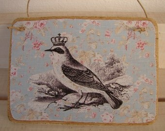 French shabby chic, ornate bird on vintage roses wallpaper-wooden tag, small dresser or door hanger