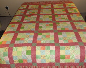 Mauve, Pink, Green and Yellow Handmade Double Quilt,  in Beautiful Vintage Floral fabrics.  Patchwork Quilt