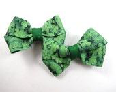 Green Shamrock Hair Bows - St Patricks Day Hair Bow Set - Pigtail Hair Bows - St Patricks Day Hair Clips - Small Hair Bows - Pigtail Bows