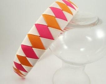 Pink Orange Cream Headband - Hot Pink Headband - Orange Headband - Cream Headband - Woven Braided Headband - Toddler Teen Adult Headband
