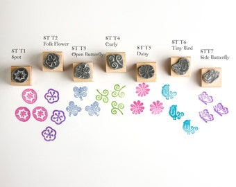Tiny Rubber Stamps, Flower and Butterfly Rubber Stamps