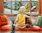 "Child, puppy, kitty, snow, Laurie Shanholtzer, Print original Pastel Christmas Painting, Choose size, ""Told Ya Santa's Coming Tonight"""