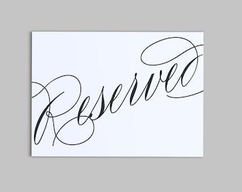 Scripted Elegance Wedding - Reserved Seating Sign - Instant Download