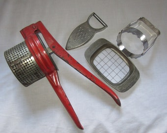 Vintage Kitchen Utensils and Gadgets Instant Collection Potato Ricer French Fry Cutter Potato Peeler Biscuit Cutter