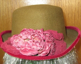 Wool Felt Hat Olive Green with Deep Pink Floral Spray and Velvet Trim Womens Vintage 1980s Accessories - Steampunk Fedora