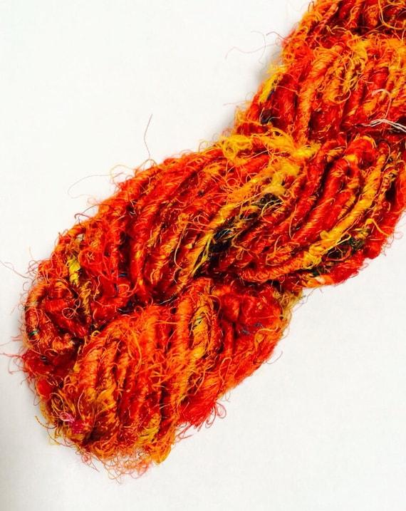 Banana silk yarn, art silk yarn, ART, vegan, multi oranges