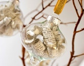 Ornament Set of 3_glass bauble with book pages_sheet music_dictionary pages