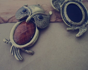 2pcs of Antique bronze Owl Pendant charm 42mmx72mm