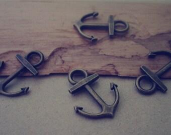 50pcs of  Antique bronze anchor  charm pendant  15mmx19mm