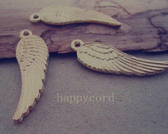25pcs gold color Double sided wings Charms pendant 10mmx31mm