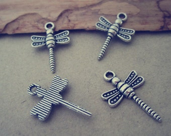 25pcs Antique Silver Dragonfly pendant charm 14mmx21mm