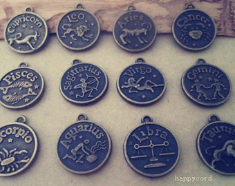 24pcs  Antique bronze(Mixed color)Chinese zodiac pendant  charm 17mm