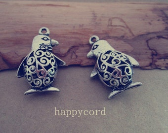 10pcs  Antique silver Hollow out Double sided penguin pendant Charms 21mmx30mm
