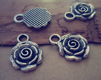 20pcs Antique silver rose Charms pendant 13mmx18mm