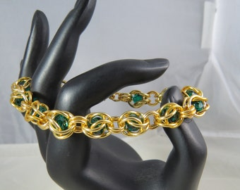Gold and Green Elegant Hourglass bracelet