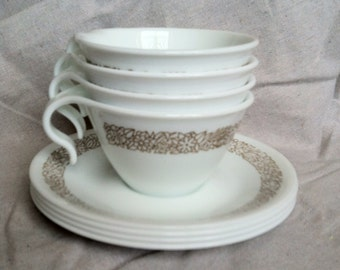 Vintage Brown Woodland Floral Pattern Corelle by Corning Teacups and Saucers- Set of 4