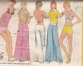 70s Halter Top, T-Shirt and Bell Bottoms or Short Shorts Pattern Simplicity 5640 Size 12 Uncut