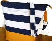 Vegan Tote Bag in Navy & White Nautical Canvas, Adjustable Zippered Crossbody Bag or Over the Shoulder Purse