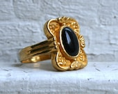 Vintage 24K Pure Gold Onyx Ring.