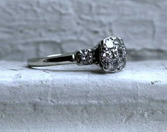 Antique 14K White Gold Diamond Cluster Engagement Ring - 0.76ct.