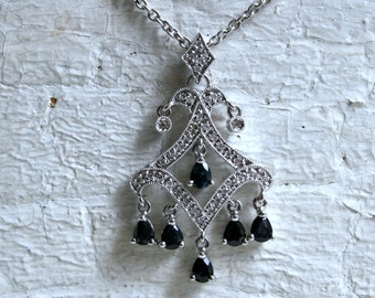 Vintage 14K White Gold Diamond and Sapphire Filigree Pendant - 1.58ct.